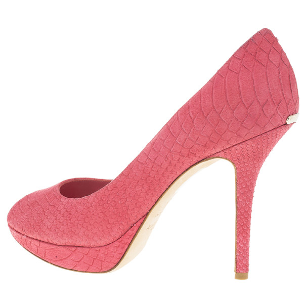 Dior Pink Python Embossed Miss Dior Pumps Size 41
