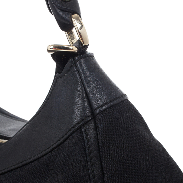 Gucci Black Canvas Small D Ring Hobo