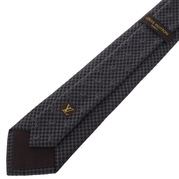 Louis Vuitton Black Silk Petit Damier Tie