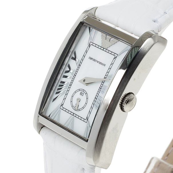 Emporio Armani White Stainless Steel AR1672 Women's Wristwatch 20MM