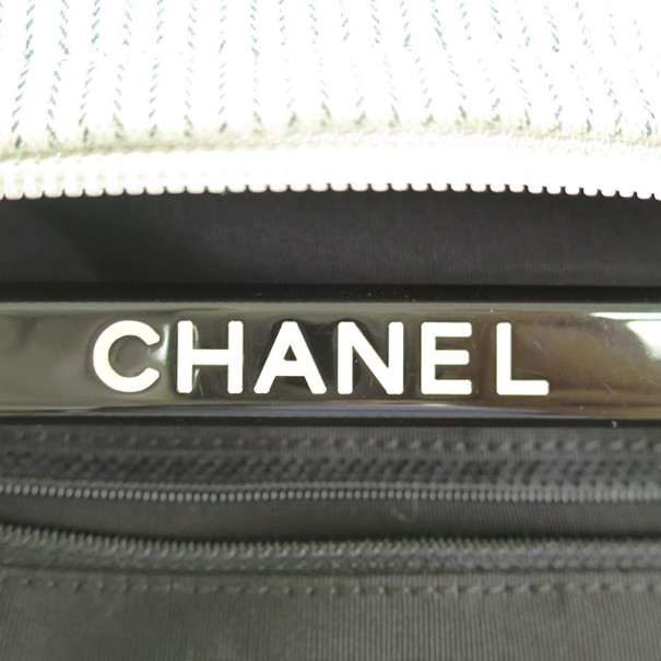 Chanel Grey Striped Coco Paris Boston Bag