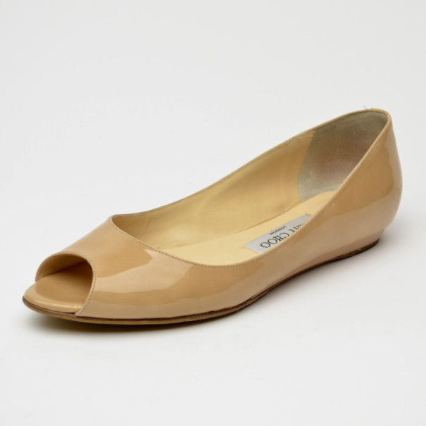 b7b141e263d ... low price jimmy choo nude patent leather peep toe ballet flats size 37.  nextprev.