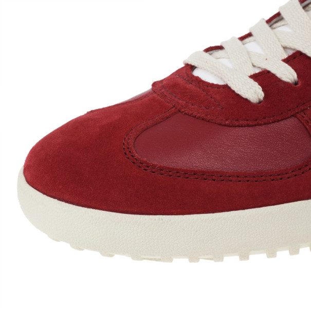 Dolce and Gabbana Red Suede and Leather Sneakers Size 44