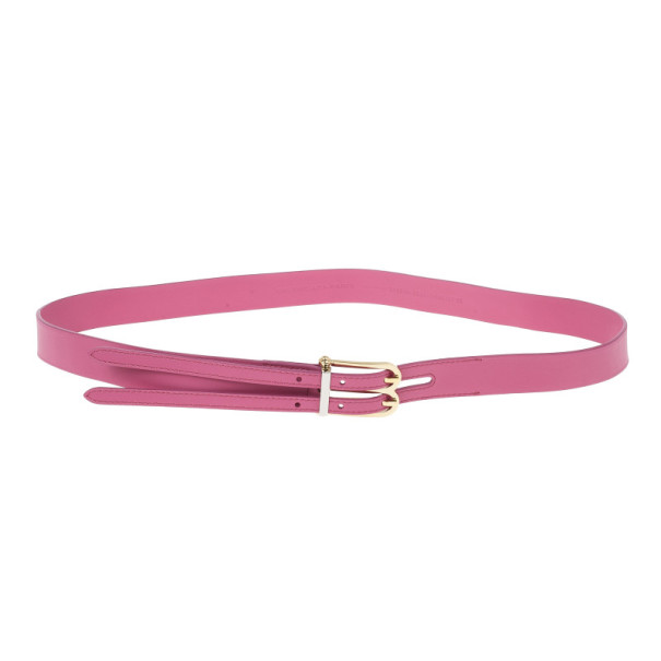 Balenciaga Pink Leather B Buckle Belt 95 CM
