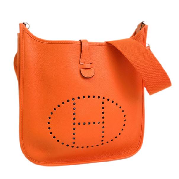 Hermes Orange Epsom Leather Evelyne PM 3