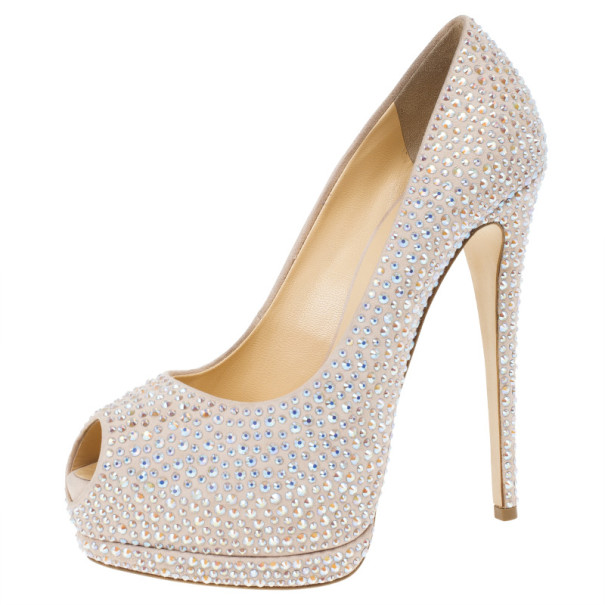 Giuseppe Zanotti Jeweled Satin Peep Toe Platform Pumps Size 39