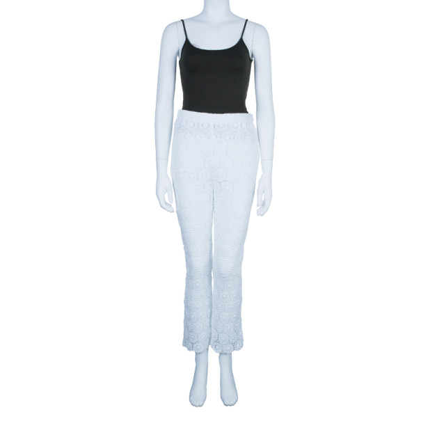 Dolce and Gabbana White Lace Flare Pants M