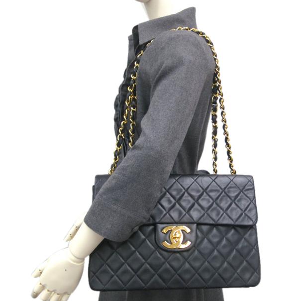 Chanel Black Calf Leather Jumbo Shoulder Flap Bag