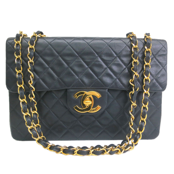 Chanel Black Calf Leather Jumbo Shoulder Flap Bag