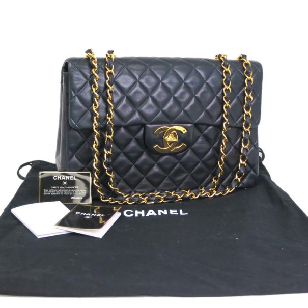 Chanel Vintage Lambskin Jumbo Classic Flap Bag