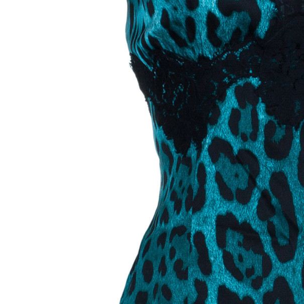 Dolce and Gabbana Turquoise Leopard Print Strappy Top L