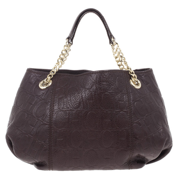 Carolina Herrera Brown Monogram Celidonia Chain Handle Tote