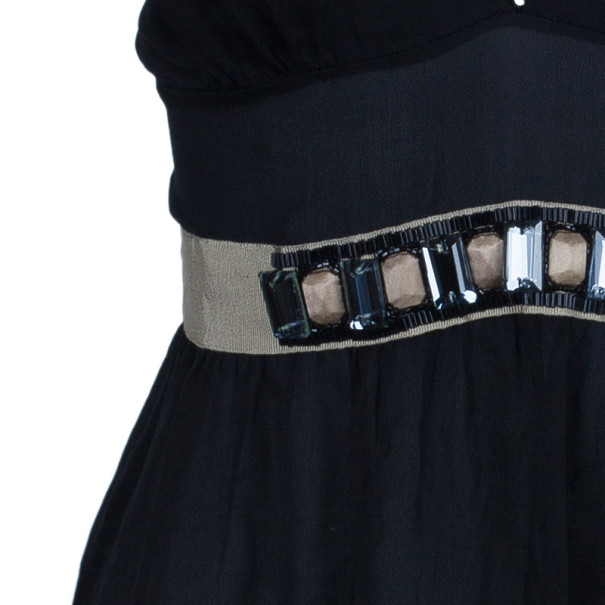 Dolce and Gabbana Black Embellished Lace Strappy Top L
