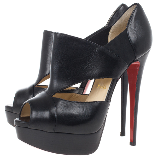 Christian Louboutin Black Leather Pitou Ankle Booties Size 38