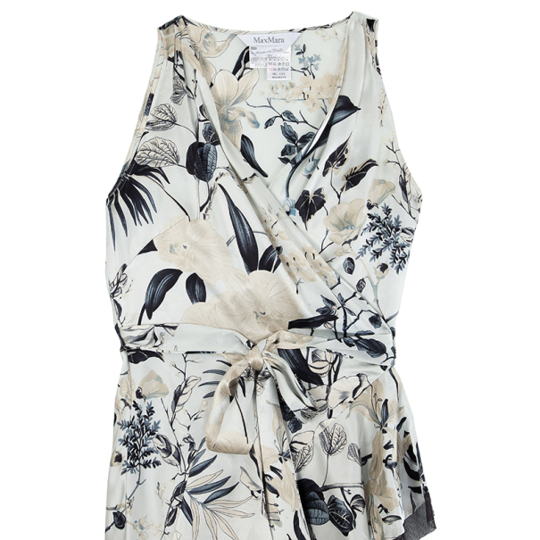 Max Mara Floral Silk Wrap Dress L