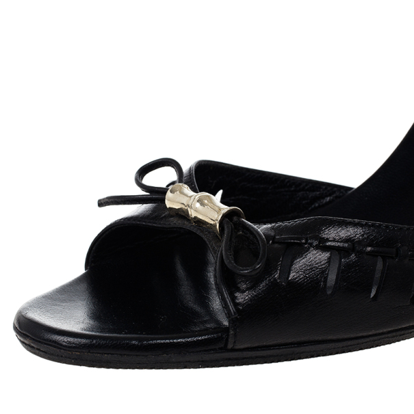 Gucci Black Bamboo Bow Slides Size 38
