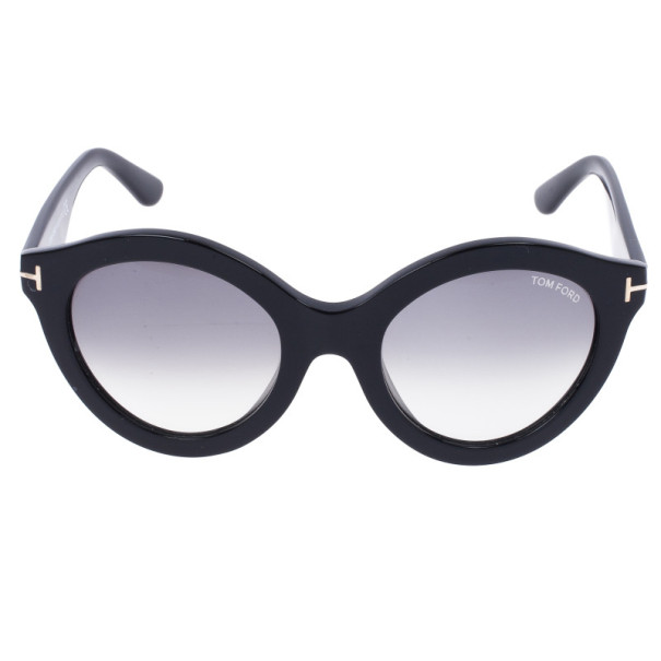 Tom Ford Black Chiara 55mm Round Sunglasses