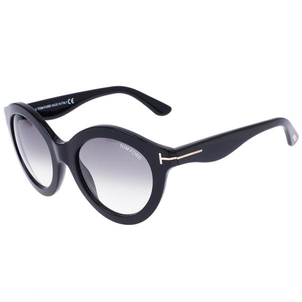 Tom Ford Black Chiara 55mm Round Sunglasses