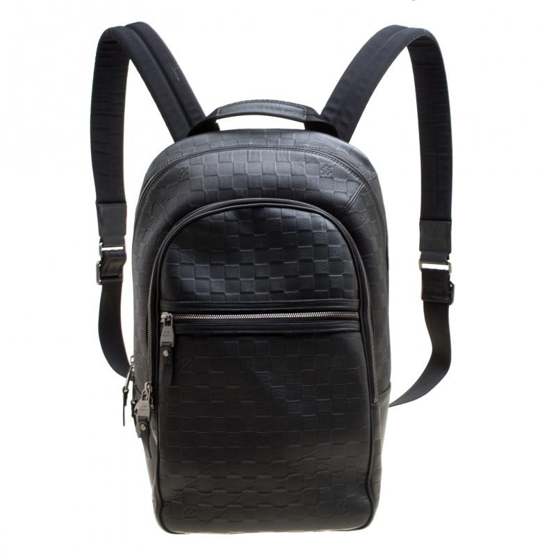 Купить со скидкой Louis Vuitton Black Damier Infini Leather Michael Backpack
