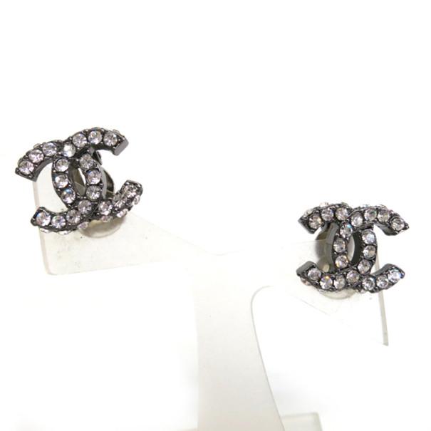 Coco Chanel Metallic Rhinestone Earrings Nextprev Prevnext