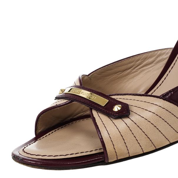 Louis Vuitton Beige Leather Slides Size 38