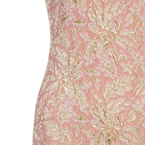 Dolce and Gabbana Peach Brocade Silk Dress S