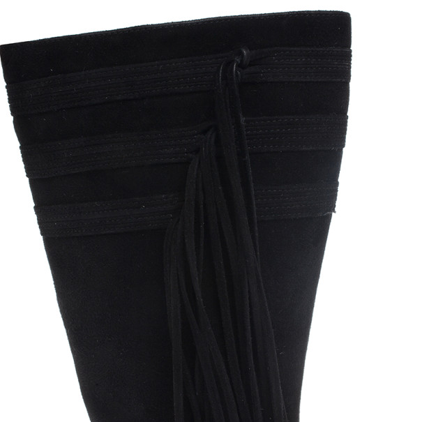 Jimmy Choo Black Suede Knee Boots Size 37.5