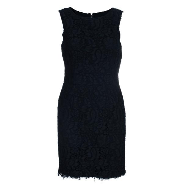 Dolce and Gabbana Black Lace Shift Dress M