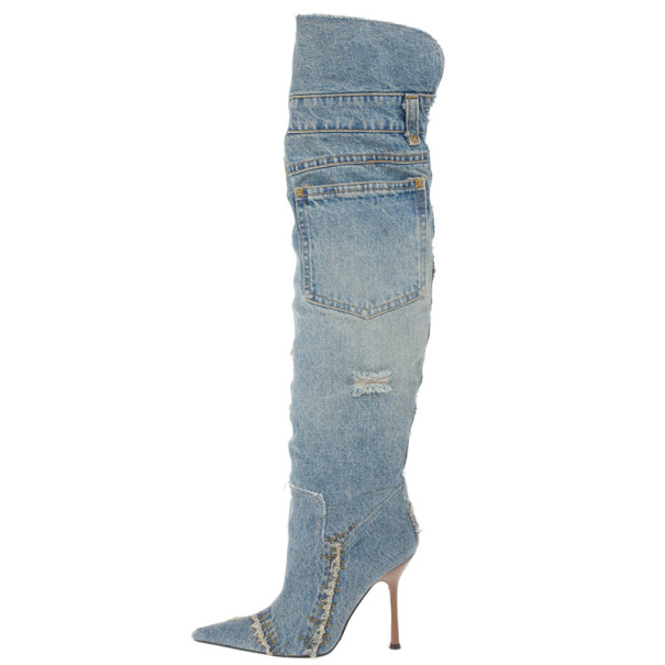 Dolce and Gabbana Denim Over the Knee Boots Size 37