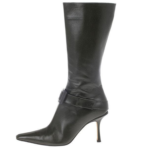Jimmy Choo Dark Green Leather Pointed Toe Knee Boots Size 37.5