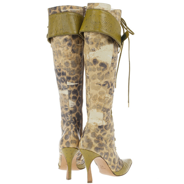 Dior Green Ostrich Leopard Print Lace-Up Knee Boots Size 37.5