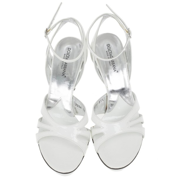Dolce and Gabbana White Leather Ankle Strap Sandals Size 37.5