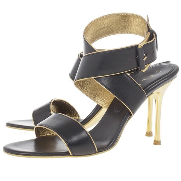 Celine Black Leather Wrap Around Sandals Size 37.5