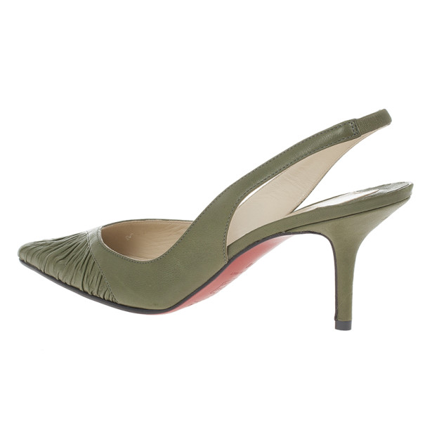 Christian Louboutin Green Leather Pleated Slingback Sandals Size 38