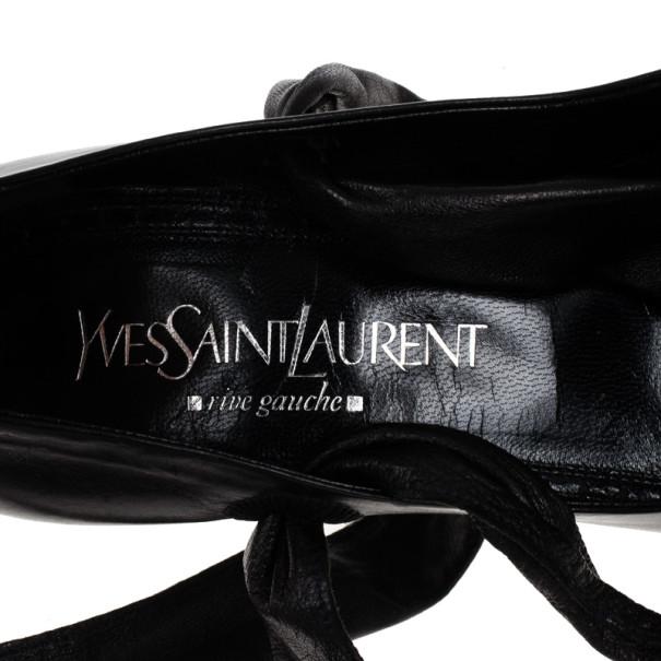 Saint Laurent Paris Black Leather Tie Around Sandals Size 37