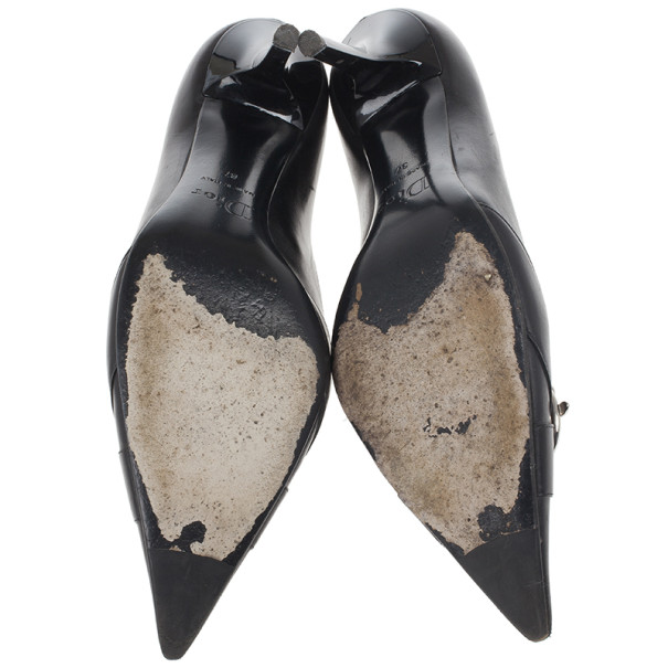 Dior Black Pointed Toe Logo Pumps Size 37