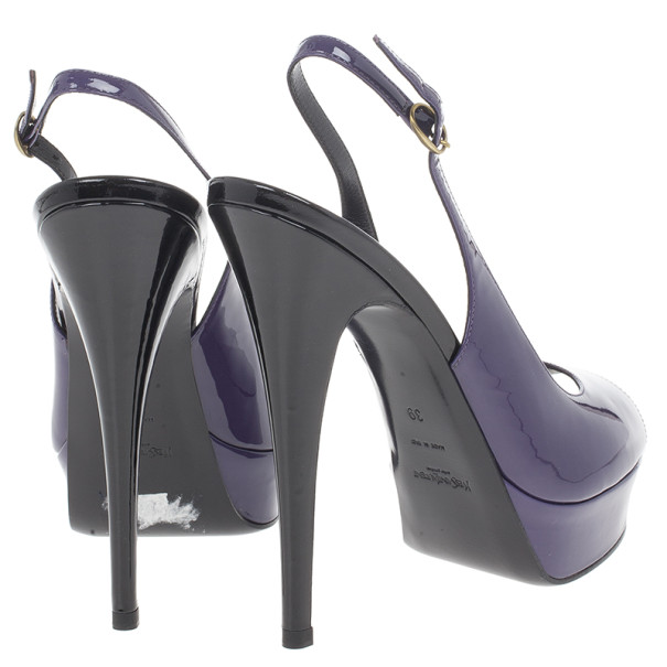 Saint Laurent Paris Purple Patent Slingback Sandals Size 39