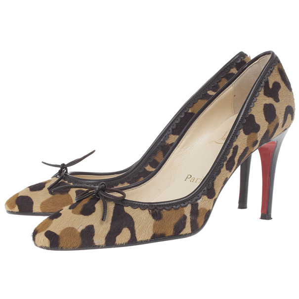 Christian Louboutin Leopard Pony Hair Bow Pumps Size 37.5