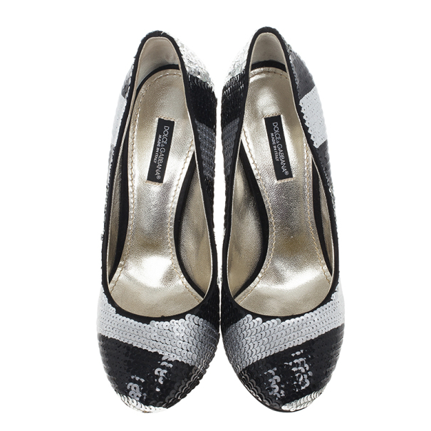 Dolce and Gabbana Black and Silver Sequin Pumps Size 37