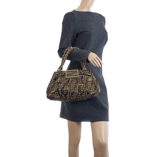 Fendi Brown Tobacco and Gold Zucca Mia Small Chain Bag