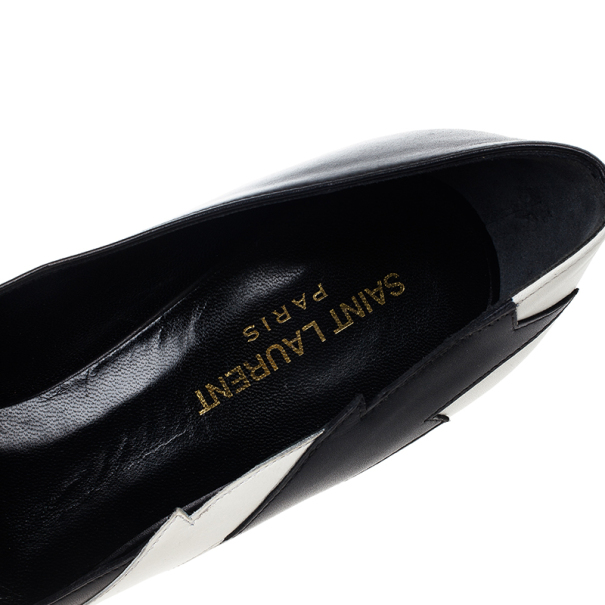 Saint Laurent Paris Leather Lightning Bolt Pumps Size 37.5