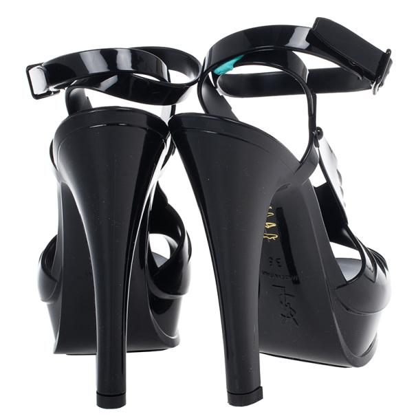 Saint Laurent Paris Black Patent  Jelly Tribute Sandals Size 36