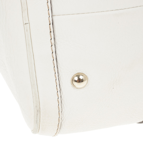 Gucci White Pebbled Leather Vintage Web Boston Bag