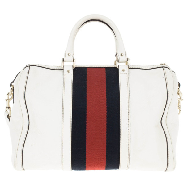 Gucci White Pebbled Leather Vintage Web Boston Bag