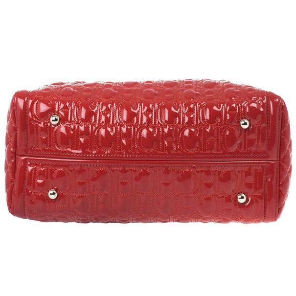 Carolina Herrera Red Patent Leather Bernardine Tote