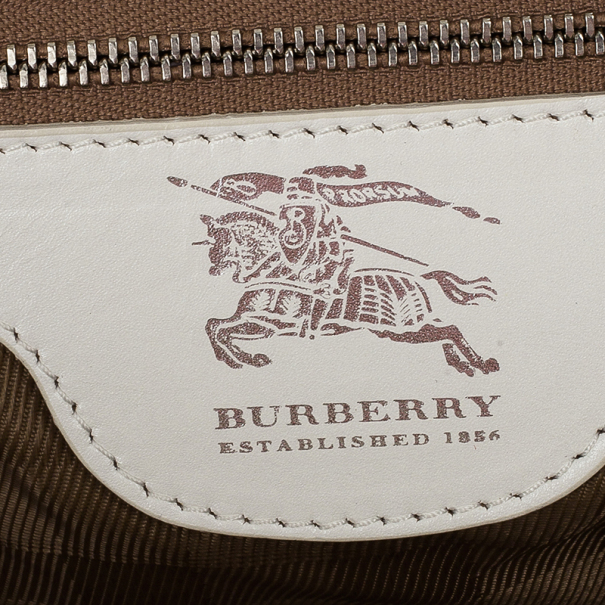 Burberry White Quilted Leather Satchel