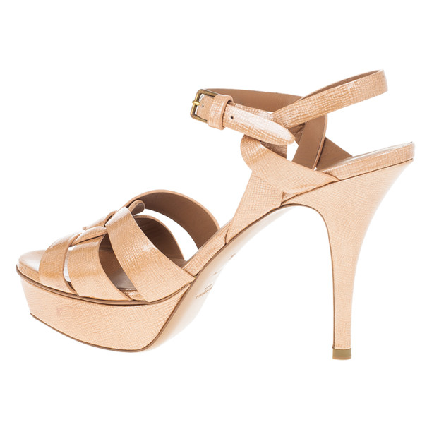 Saint Laurent Paris Blush Patent Tribute Platform Sandals Size 38.5