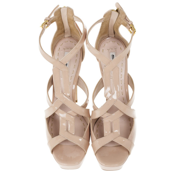 Miu Miu Nude Patent Leather Platform Back Zip Sandals Size 38.5