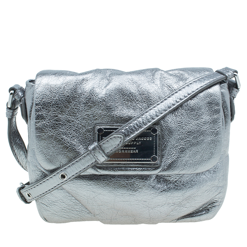 Marc by Marc Jacobs Silver Leather Isabelle Cross Body Bag