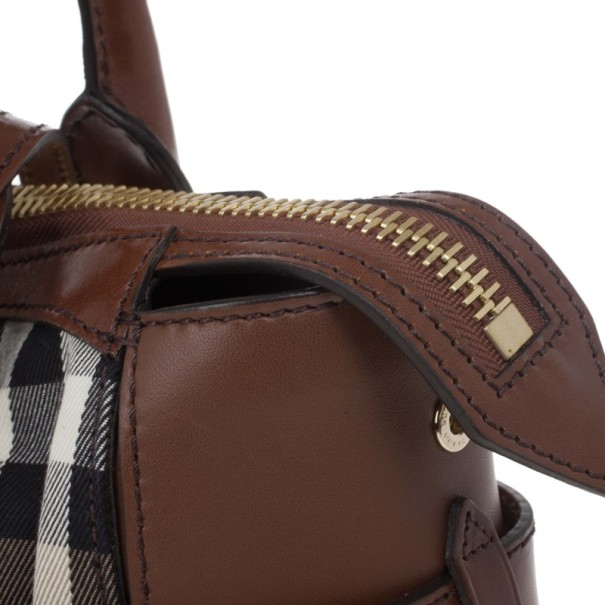 Burberry House Check Canvas and Leather Small Gladstone Tote